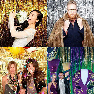 Metallic Curtain Tinsel String Foil Party Christmas Door Decoration Shiny liau