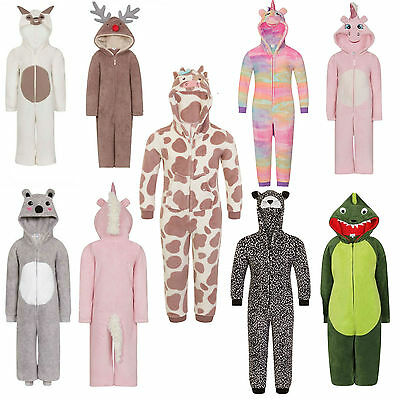 Girls Boys Toddler 3D Animal Costume All in One Fleece Jumpsuit Pyjamas Playsuit