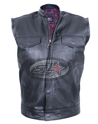 New Handmade Mens Son Of Anarchy Real Leather Motorcycle Biker Waistcoat/Vest