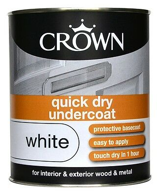 Crown Quick Dry Primer Undercoat paint 750ml White interior&exterior wood&metal