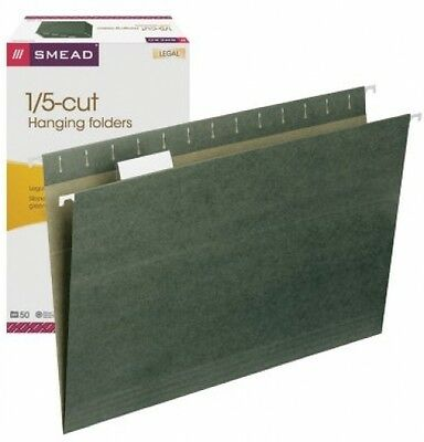 Smead 1/5 Cut Adjustable Positions Hanging File Folders, Legal,  Green,50ct,New