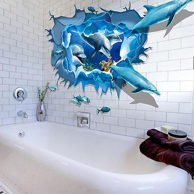 Removable Dolphin 3D Sea Ocean Stickers Wall Decal Mural DIY Decor Kid Room Art