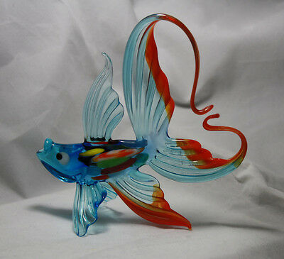Art Blown Glass Murano Figurine  Glass Fish with Arched Tail Figurine #1