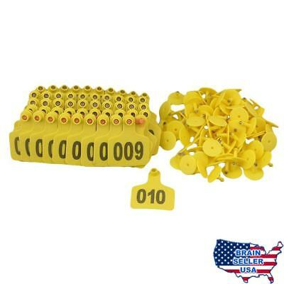 BQLZR Yellow 1-100 Numbers Plastic Large Livestock Ear Tag for Cow Cattle Pack o