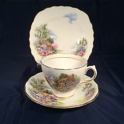 Pretty Royal Vale  Vintage China Trio Cup, Saucer & Plate  Cottage Garden