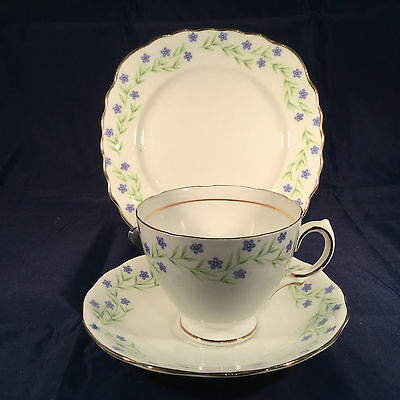 Pretty Royal Vale  Vintage China Trio Cup, Saucer & Plate  Small Blue Flower
