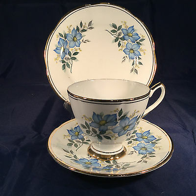 Stunning Elizabethan  Vintage China Trio Cup, Saucer & Plate  Blue Flower