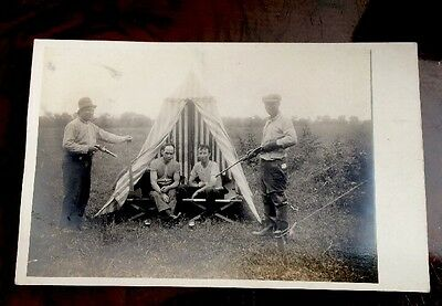 Vintage RPPC Men With Gun Rifle Lil Circus Tent Early 1900s Real Photo Postcard