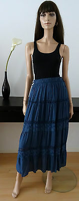 Jupe longue vintage bleue broderies taille 38/40