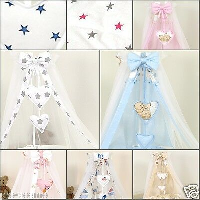 CANOPY Drape with HEARTS & BOW+ METAL HOLDER/   for Cot & Cot Bed