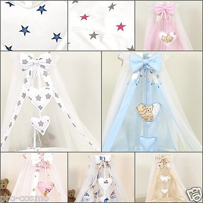 CANOPY Drape with HEARTS & BOW + METAL HOLDER /   for Cot & Cot Bed