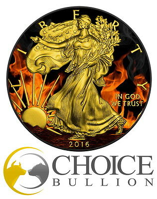 2016 Burning Eagle Silver Coin Ruthenium+Gold US Silver Eagle