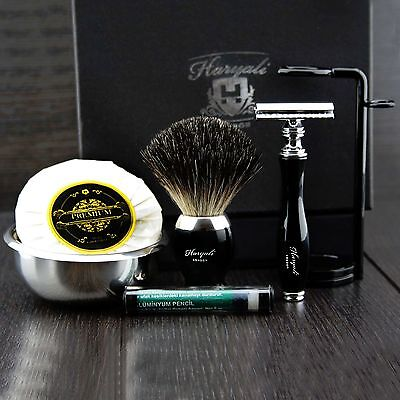 SAFETY RAZOR Men's Shaving Gift Set Black with BRUSH SOAP AND Shaving BOWL