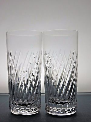2 Crystal Cut Glass  Highball Whisky Tumblers Whiskey Glasses - 15 Cm Tall