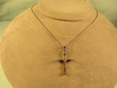 """Cross pendant necklace (signed) & 18"""" ( 925 ) chain bothe are gold tone"""