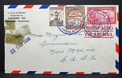 Venezuela Airmail Cover EE UU 1939 to USA Luftpost Brief Flugpost Lupo (I-5501