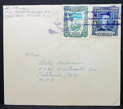 El Salvador Envelope to USA 10c Flag 8c Stamp MiF auf Brief Flaggenmotiv (I-5492