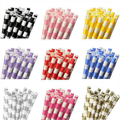 25Pcs Colourful Vintage Striped Floral Drinking Straw Paper Straws Party Wedding