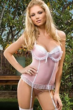 Sex y Luscious Lady Mesh Bustier, G-String & Sheer Stockings Set - Hot Basque