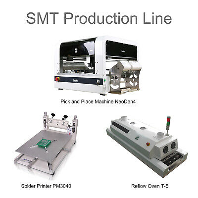 NeoDen4 SMT Pick and Place Machine Production Line T5 PM3040 19 Feeders 0201 BGA