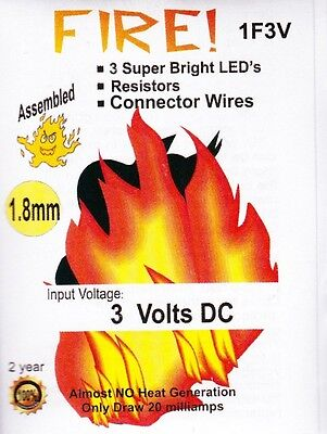 Model Train-1.8mm Camp Fire LED's- Fully Assembled-3v Battery + clip include