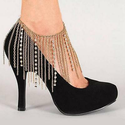 Women Fashion Jewelry Boot Anklet Bracelet Chain Gold Metal Shoes Chains