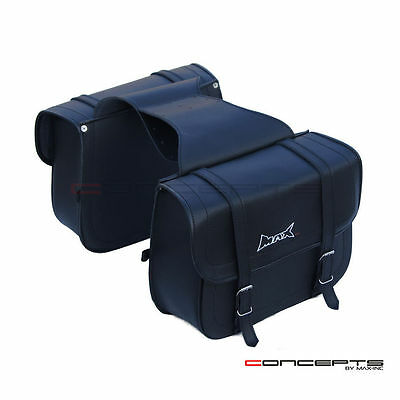 MAX Universal High Quality PU Leather Motorcycle SIDE Saddle Bags