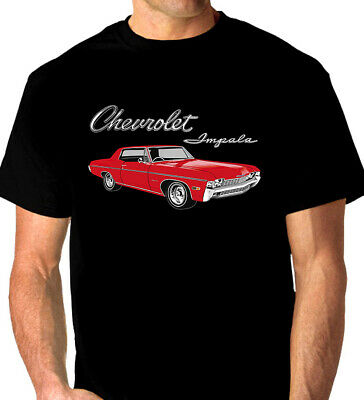 68'  CHEVY  IMPALA  327 ci.  V8    BLACK  TSHIRT     MEN'S  LADIES   KIDS  SIZES