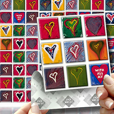 18 Stick & Go Heart Wall Stick On Wall Tiles, Stickers for Kitchens & Bathrooms
