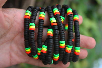 10 Hot Bright Rasta Reggae Black Coconut Shell Wood Stretchy Bracelets Wholesale