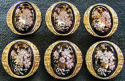6 Czech Vintage (1950's) Glass Buttons #A683 - 24 CARAT GOLD FLOWERS