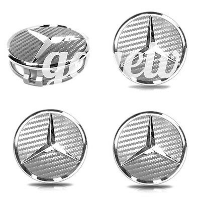 Mercedes 75mm CARBON SILVER GREY CENTER WHEEL HUB CAPS SET (4 PCs) EMBLEM BADGE