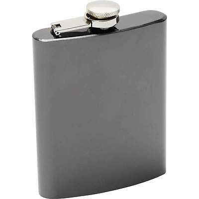 8oz Black Chrome Flask Stainless Steel Screw Cap Hip Pocket Carry Liquor Whiskey
