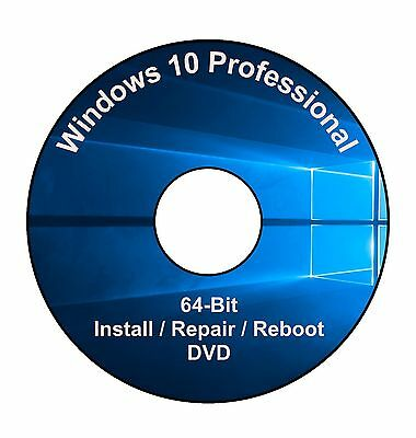 Windows 10 Professional 64-Bit Installation & Format HDD DVD Disc