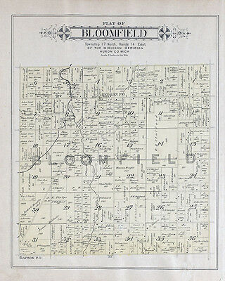 1904 Map of Bloomfield Township Huron County Michigan