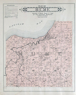 1904 Map of Hume Township Huron County Michigan