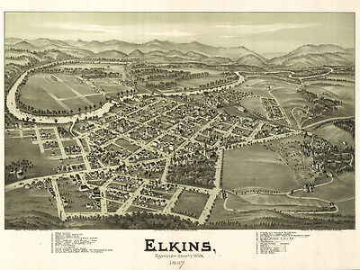 1897 Panoramic Map of Elkins West Virginia CANVAS PRINT
