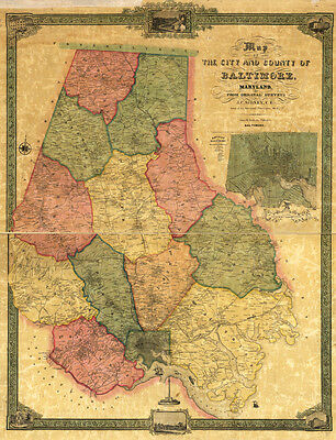 1857 Map of Baltimore County Maryland LARGE 40 x 52