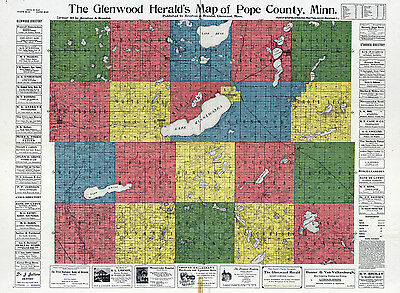 1901 Farm Line Map of Pope County Minnesota colored