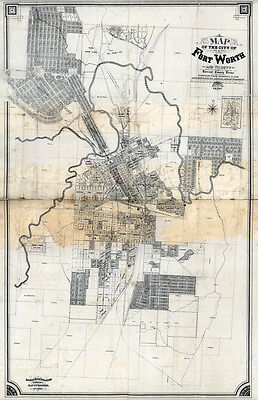 1880 Map of Fort Worth Texas CANVAS PRINT