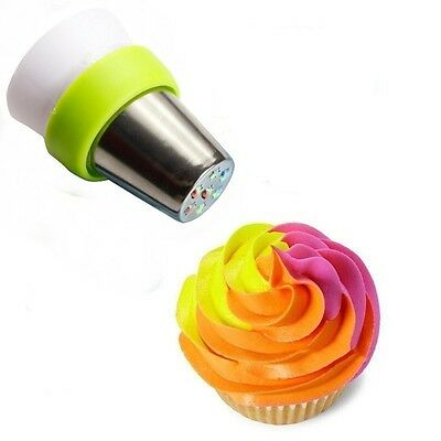 Pack of 2 - UTEN Tri-colour Coupler Russian Nozzles Cupcake Icing Piping Bag Con