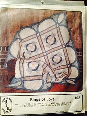 Rings of Love quilt pattern - Queen size quilt with applique blocks. Huge Saving
