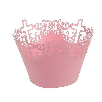 ROSENICE Cupcake Cases Cross Cupcake Wrappers Trays Wedding Party Decor in Pink