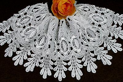 """Kiddo 6/"""" White or Ivory Floral Scalloped Guipure Rayon Venice Lace Trim by Yard"""