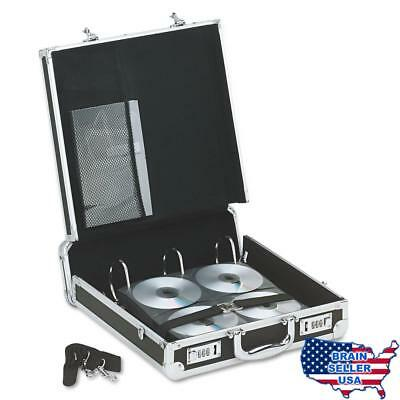 Vaultz Locking Media Binder, 200 CD/DVD Capacity, Black with Chrome Accents, 14