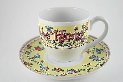 Mary Engelbreit Tea Cup and Saucer Just For Today be Happy Yellow Floral