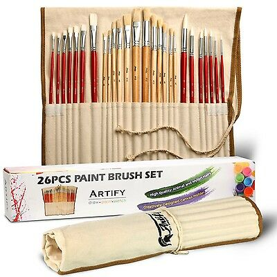 Artify 26 Pcs Paint Brushes Art Set for Acrylic Oil Watercolor and Gouache Pa...