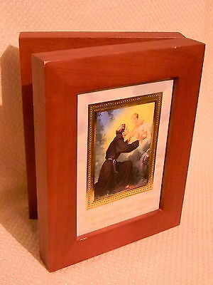 Vintage Religious Bi-Fold Solid Wood Hinge Double Picture Frame