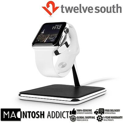 Twelve South FORTÉ Luxury Charging Dock Stand For Apple Watch | Chrome | Leather