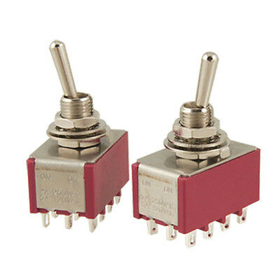 2 Pcs AC 250V 2A 120V 5A 12 Pin 4PDT ON/ON Toggle Switch